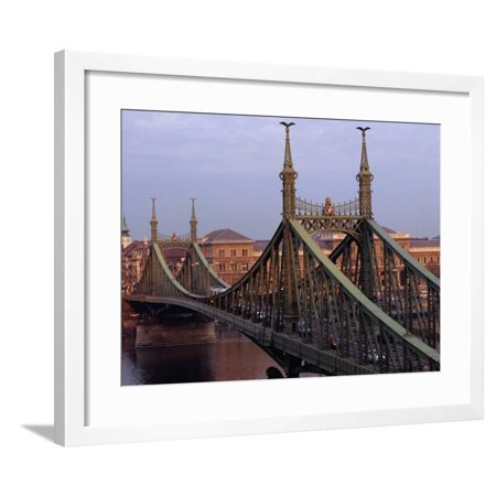 Gellert Hill (The Freedom Bridge (Szabadsag Hid) Over the Danube River at Gellert Hill, Budapest, Hungary Framed Print Wall Art By David Greedy)
