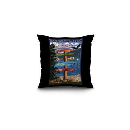 Camano Island, Washington - Destinations Sign - Lantern Press Artwork (16x16 Spun Polyester Pillow, Black - Washington Sign