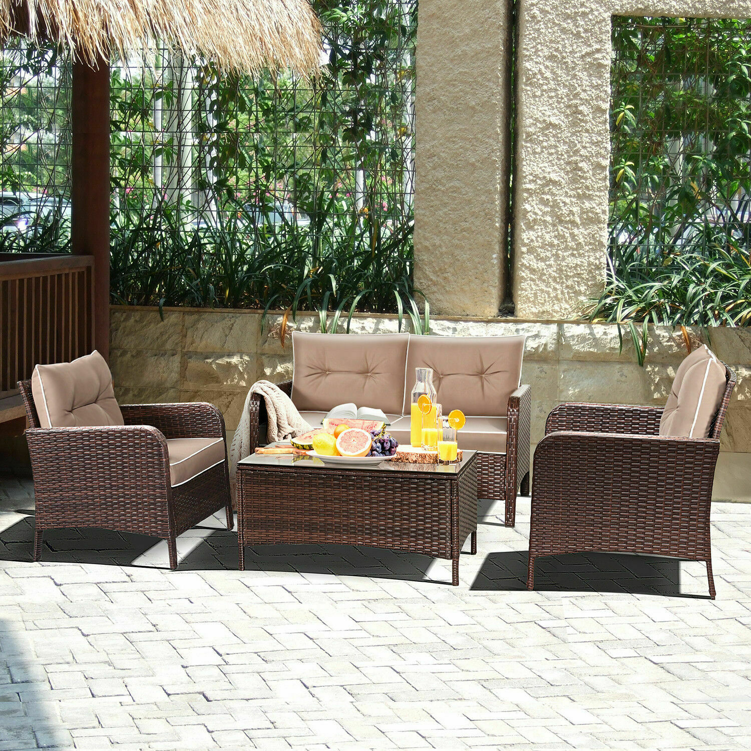 Costway 4 Pcs Outdoor Patio Rattan Wicker Furniture Set Sofa Loveseat W Cushions