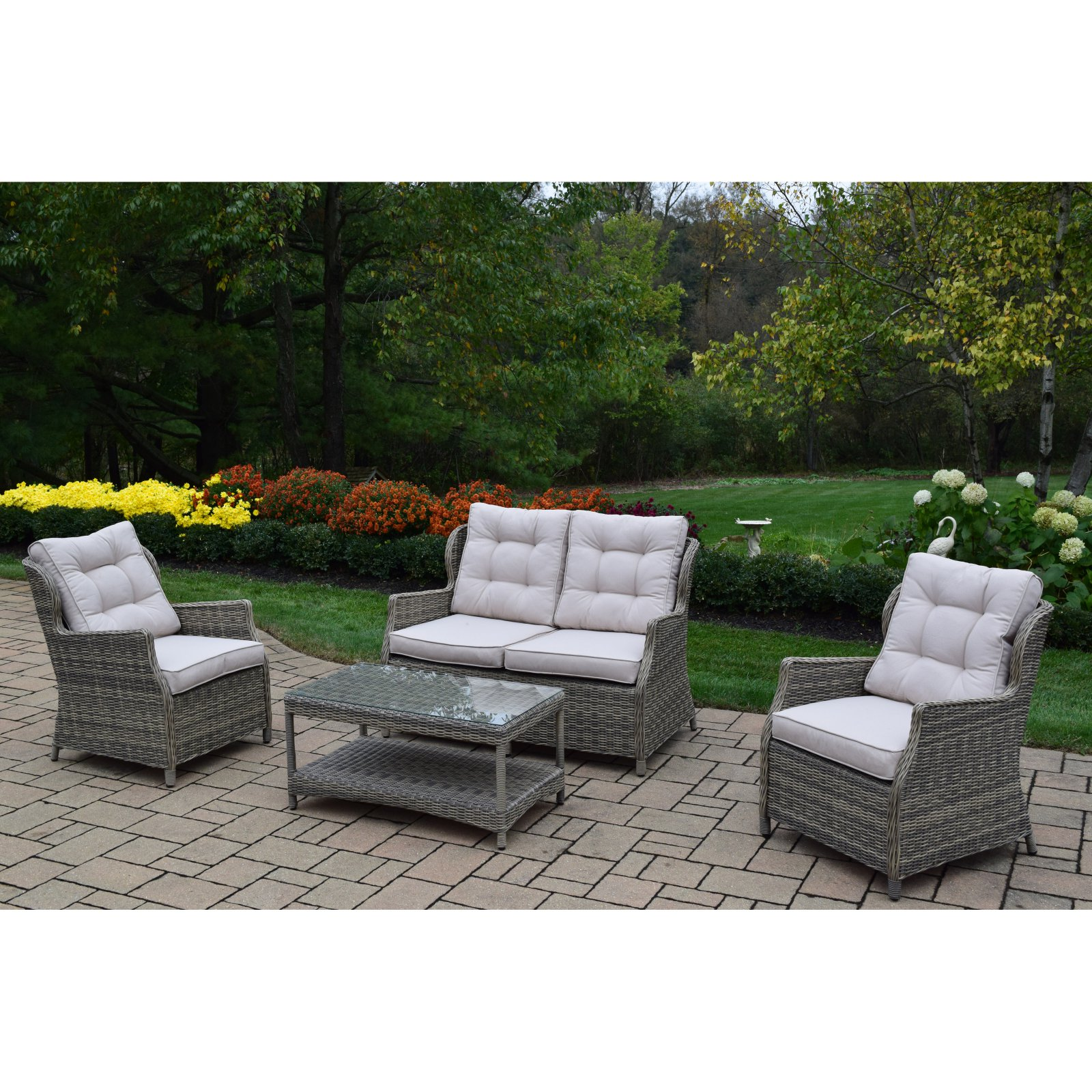 Oakland Living Borneo Resin Wicker 4 Piece Patio Conversation Set with Cushion