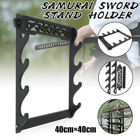 4 Tier Wall Mount Samurai Sword Katana Holder Stand Hanger Bracket Rack Display