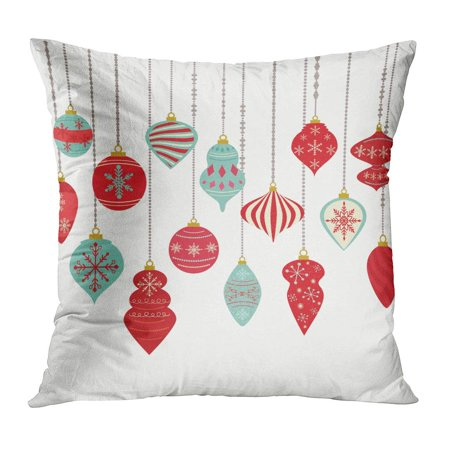 - ECCOT Red Holiday Christmas Ornaments Balls Hanging Shape Eve Pattern Fantasy Border Pillow Case Pillow Cover 16x16 inch