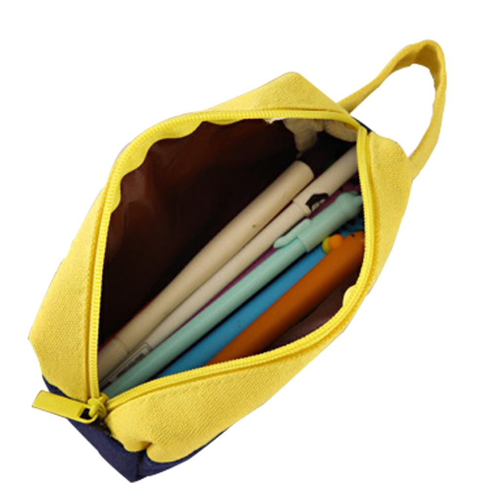 Fashionable Simple Canvas Stitching Pencil Pencil Case Large Pencil Bags