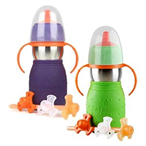 The Safe Sippy 2 2-in-1 Sippy to Straw Bottle, 2 Pack, Purple/Green