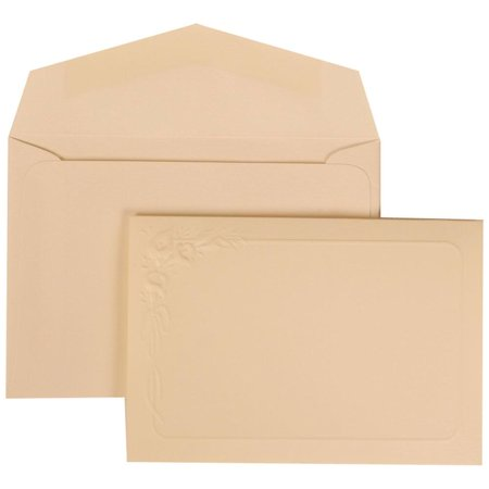 JAM Paper Wedding Invitation Set, Small, 4 7/8 x 3 3/8, Ivory Card Partial Lily Border with Ivory Envelope Ivory Lily, 100/pack