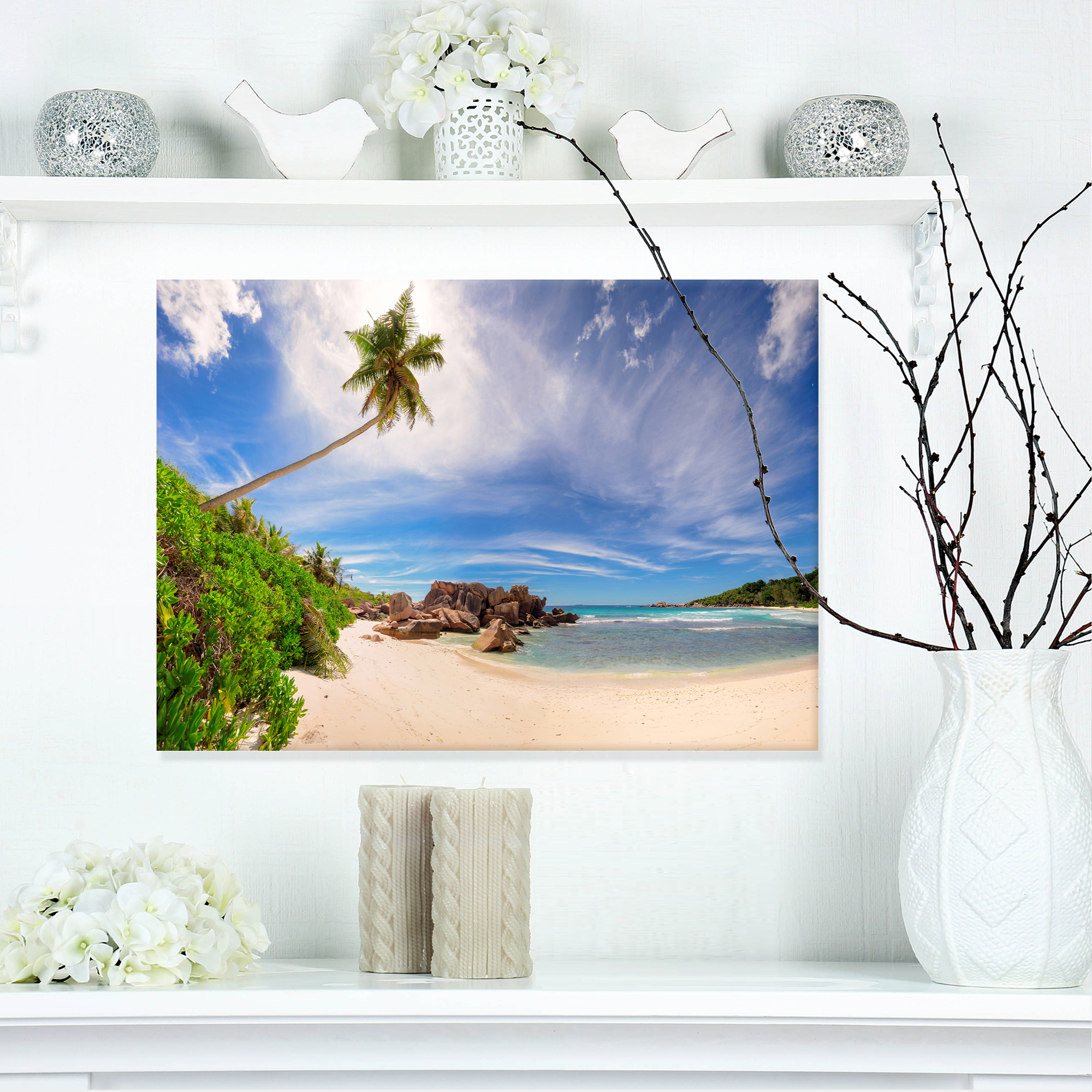 Beautiful Beach at La Digue Seychelles - Large Seashore Canvas Print - image 3 of 3