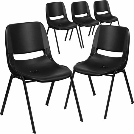 - Flash Furniture 5-Pack HERCULES Series 440 lb Capacity Ergonomic Shell Stack Chair with Black Frame and 14