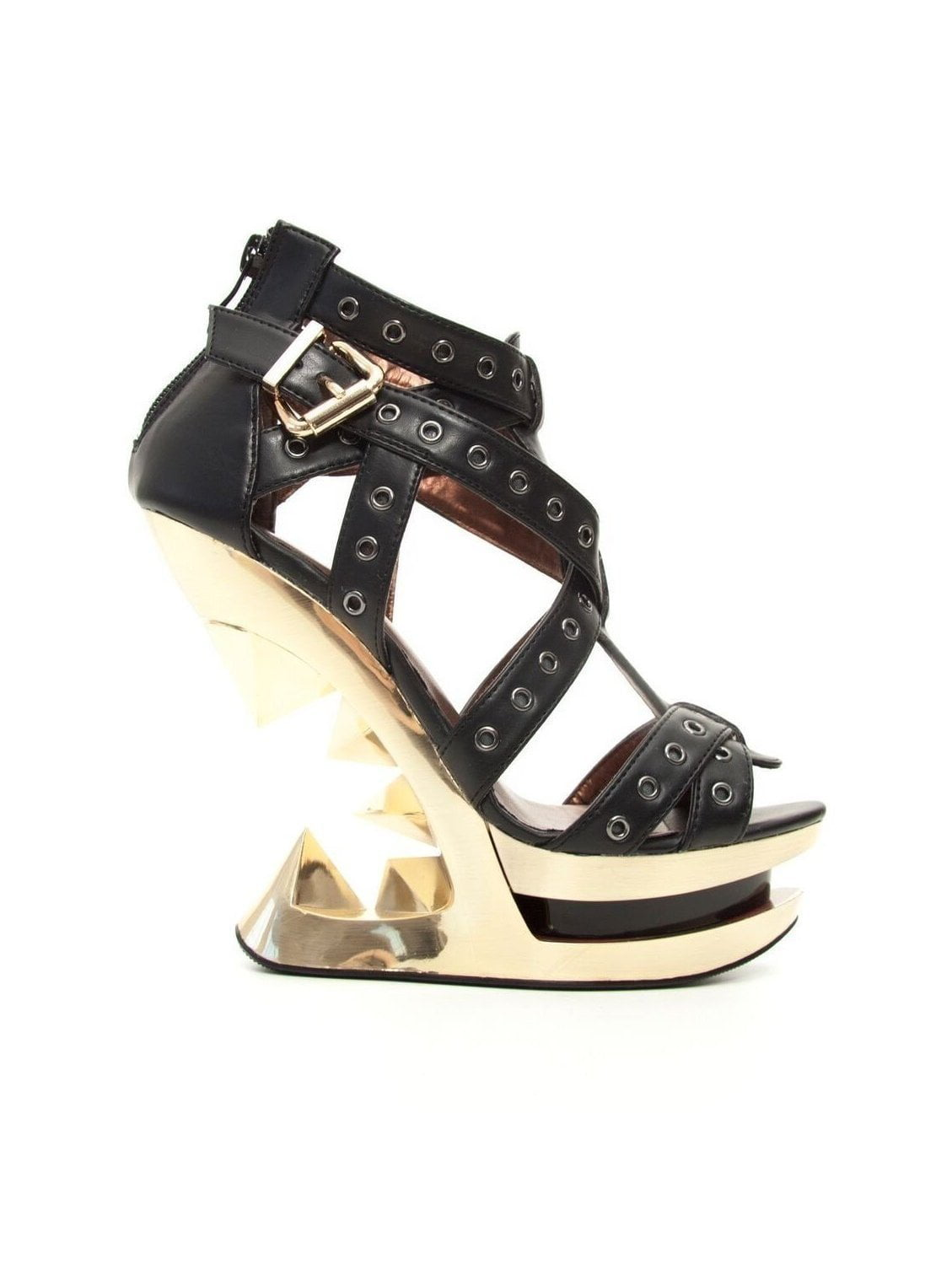 Hades Shoes H-Taunt Gold Wedge Heel 6 / Black