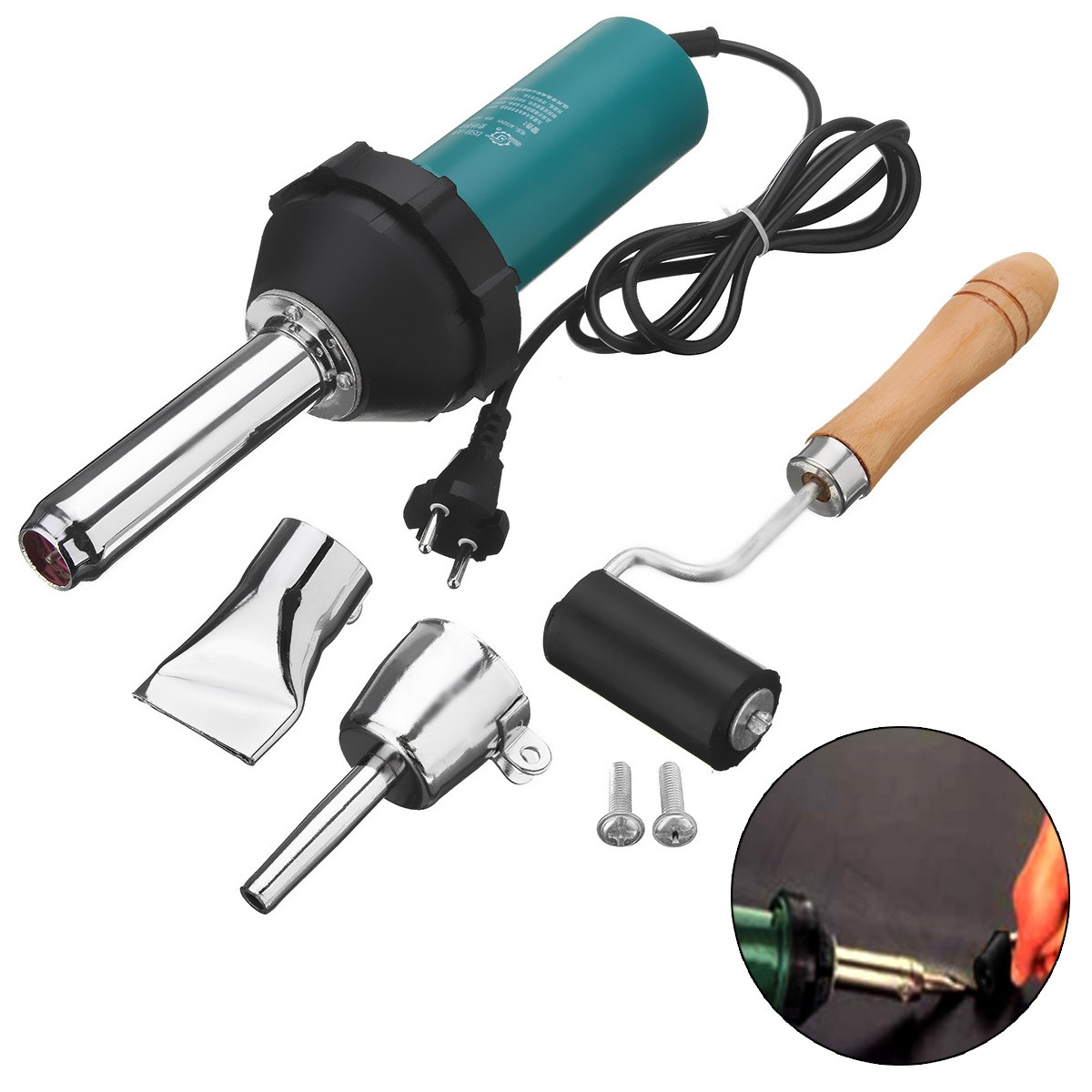 1080W 220V 50Hz Plastic Hot Air Welding Gun with Pencil Tip Nozzle & Flat Tip & Pressure Roller Heat Gun Kit
