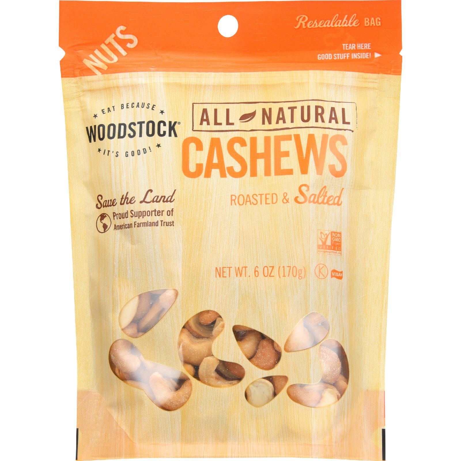 Woodstock Nuts - All Natural - Cashews - Whole - Extra Large - Roasted - Salted - 6 oz - case of 8
