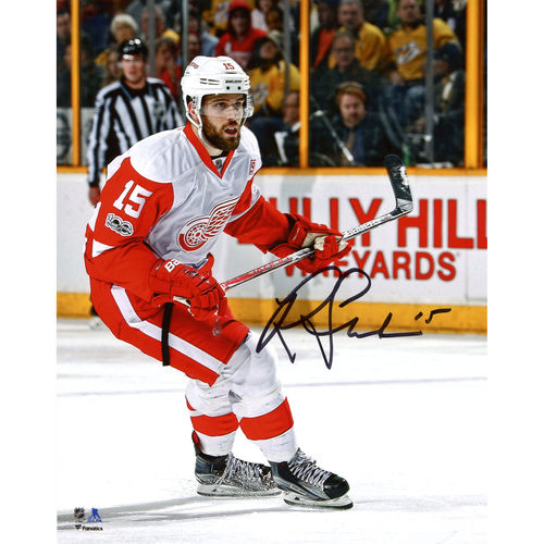 "Riley Sheahan Detroit Red Wings Autographed 8"" x 10"" White Jersey Skating Photograph No Size by Fanatics Authentic"