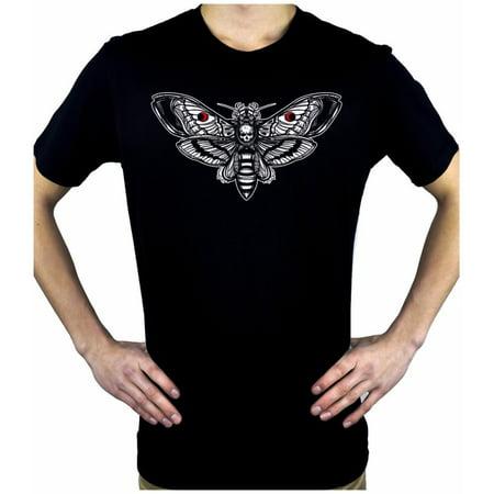 Moth with Death Skull Men's T-Shirt Alternative Clothing Gothic Deathrock (Men Gothic)