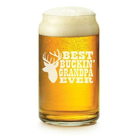 16 oz Beer Can Glass Best Buckin Grandpa Ever