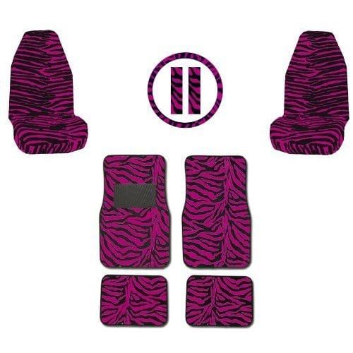 Unique Imports Dark Hot Pink Zebra Tiger Animal Print Front & Rear Seat Carpet