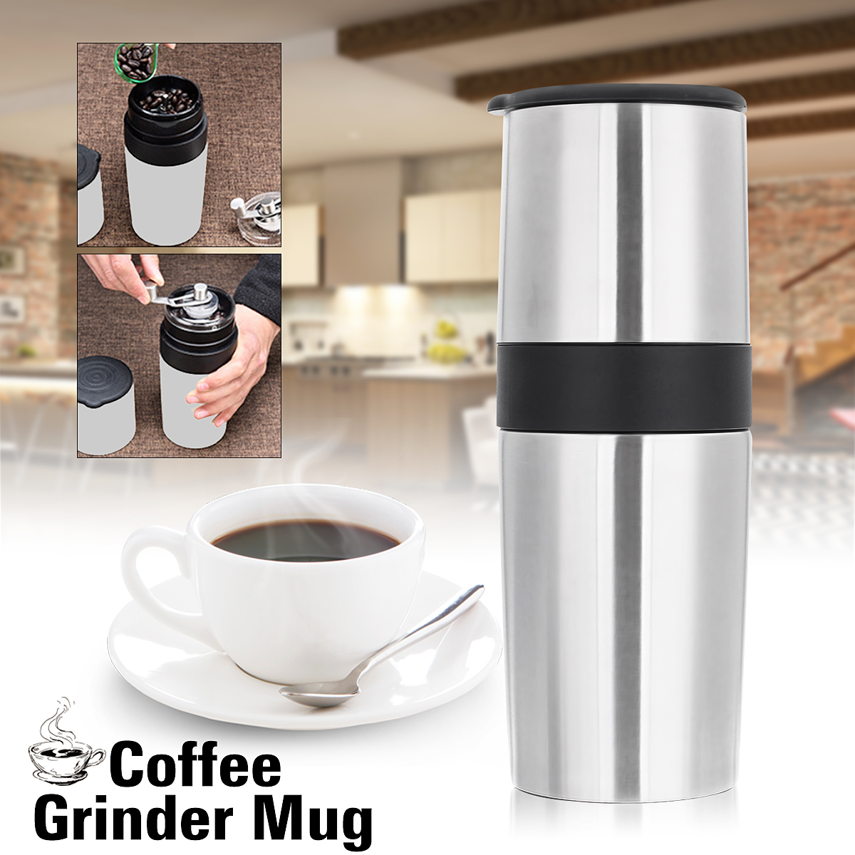 "2.76x8.66"" 400ml Multi-functional Creative Manual Coffee Grinder Portable Coffee Mill Coffee Cup... by"