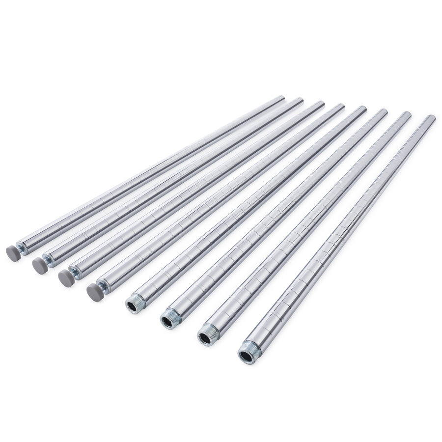 """HSS 82"""" Long Wire Shelving Pole with Leveler, 1"""" pole diameter 1.2 mm pole thickness, Chrome, 4-PACK"""