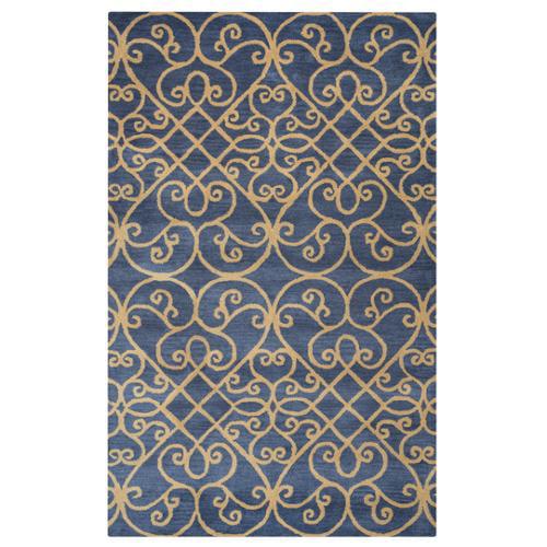 Arden Loft Lewis Manor Charcoal Grey/ Gold Ornamental Hand-tufted Wool Area Rug (8' x 10')
