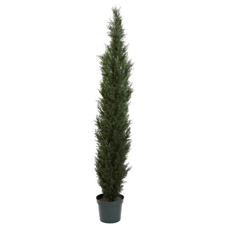 Nearly Natural Mini Cedar Pine Topiary If you're looking for a piece to make a statement, look no further than this 7' Mini Cedar Tree, which stands at an impressive seven feet tall. With 3,614 beautiful, leafy tips spaced throughout its presentation, it adds an entirely new level of decor to any location. Best of all, this two-tone decoration needs no water, making it perfect for both home and office.