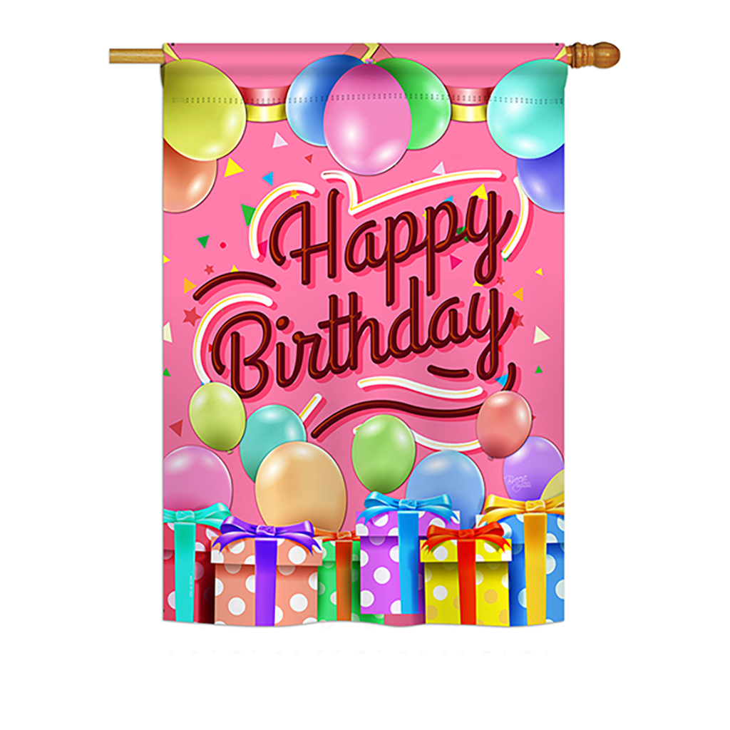 "Breeze Decor - Celebrate Happy Birthday Special Occasion - Everyday Party & Celebration Impressions Decorative Vertical House Flag 28"" x 40"" Printed In USA"