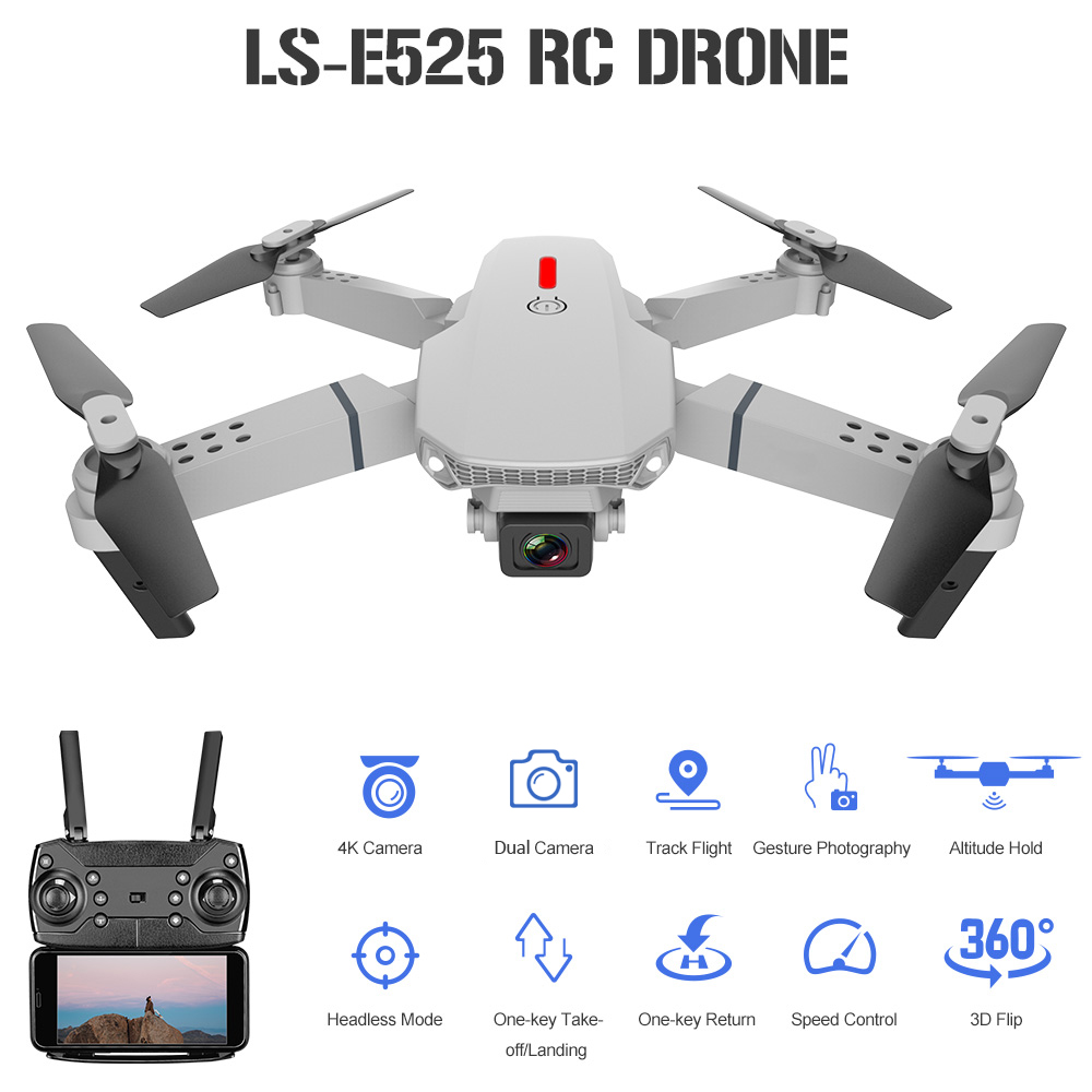 LS-E525 RC Drone w// 4K Dual Camera WiFi FPV Foldable 3D Filp RC Qudcopters Gifts