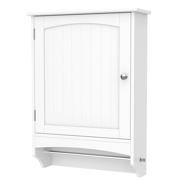 Wooden Bathroom Wall Mount Cabinet Storage Cabinet with Rod and Adjustable Shelf, White
