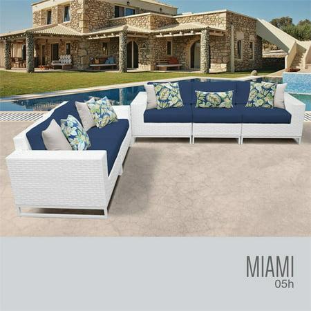 TKC Miami 5 Piece Patio Wicker Sofa Set in Blue ()