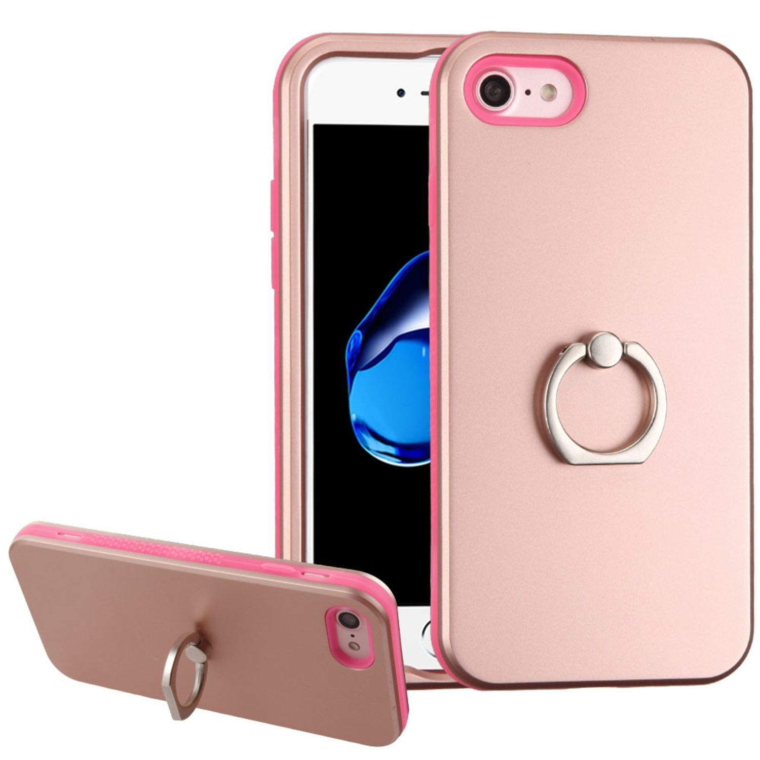 Insten Hard Hybrid Rubber Silicone Case ( with Ring Stand ) For Apple iPhone 8 / iPhone 7 - Rose Gold/Pink