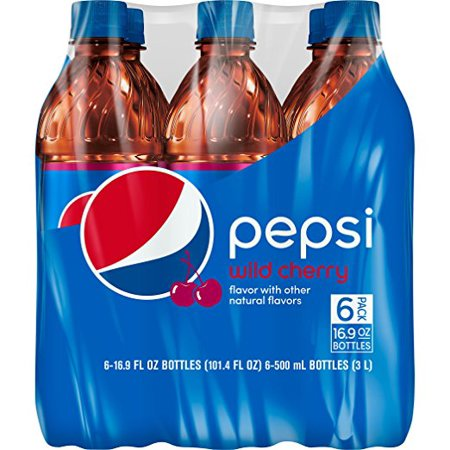 (4 Pack) Pepsi Soda, Wild Cherry, 16.9 Fl Oz, 6 Count