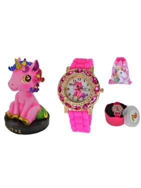 81ca29889e65 Product Image Pink Lucky Unicorn Gift Set.Bobblehead Unicorn Figure    Stones Gold-Tone Analog Quartz