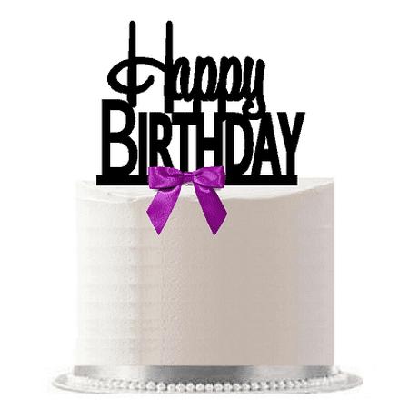 Happy Birthday Purple Bow Elegant Cake Decoration Topper