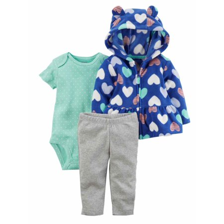 Carters Infant Girls Baby Outfit Blue Heart Hoodie Bodysuit & Leggings Set