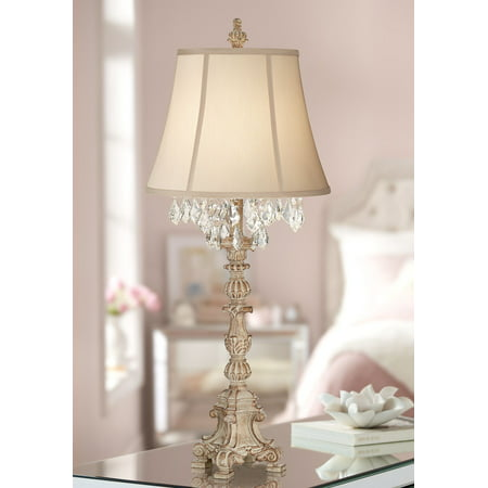 barnes and ivy cottage table lamp crystal antique white candlestick beige bell shade for living room family bedroom -
