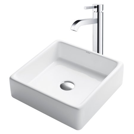KRAUS 15-inch Square White Porcelain Ceramic Bathroom ...