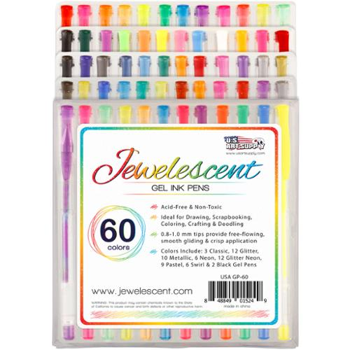 US Art Supply Jewelescent 60 Color Gel Pen Set Classic, Glitter, Metallic, Neon, Pastel & Swirl Colors