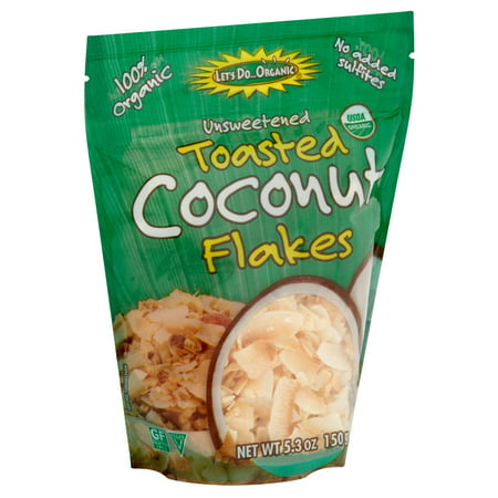 (2 Pack) Let's Do Organic Unsweetened Toasted Coconut Flakes, 5.3 oz