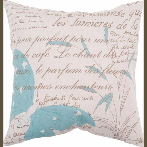 Art of Knot Amadora Blue Cotton/Linen Decorative Pillow with Down Fill