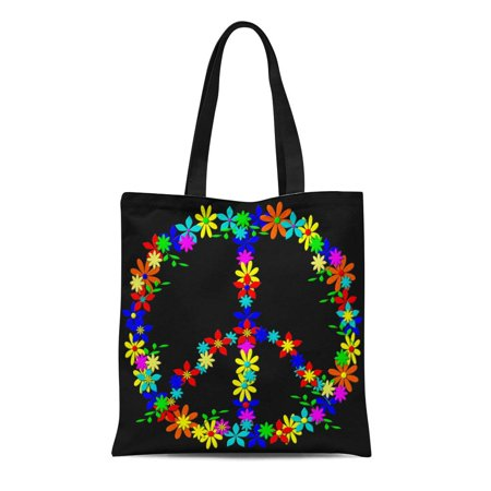 ASHLEIGH Canvas Tote Bag Colorful 60S Groovy Retro Peace Sign Calm Character Child Reusable Shoulder Grocery Shopping Bags Handbag