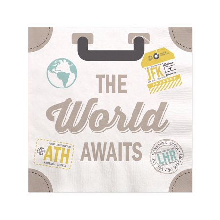 World Awaits - Travel Themed Party Cocktail Beverage Napkins (16 Count) - November Party Themes