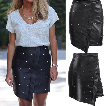 Beaded Charmeuse Skirt - Women PU Bandage Leather Skirt High Waist Pencil Bodycon Bead Mini Short Skirt
