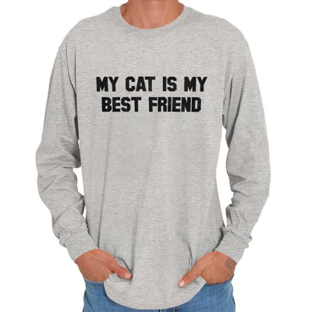 Brisco Brands My Cat Is My BFF Best Friend Long Sleeve Tee Shirt