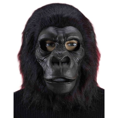 Hairy Black Gorilla Mask Halloween Accessory, One Size