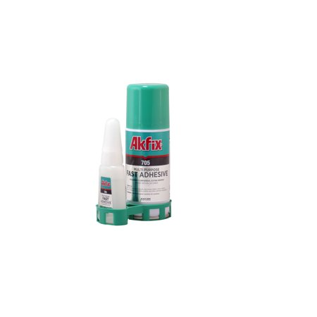 Akfix 705 Fast Adhesive Kit CA Glue (0.7 oz) with Activator (3.38 fl oz). Clear Suer Glue with Activator.