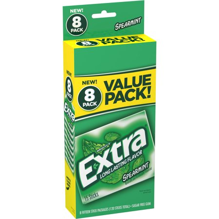 Extra Gum, Spearmint, Sugar Free, 15 Sticks (Pack of 8)