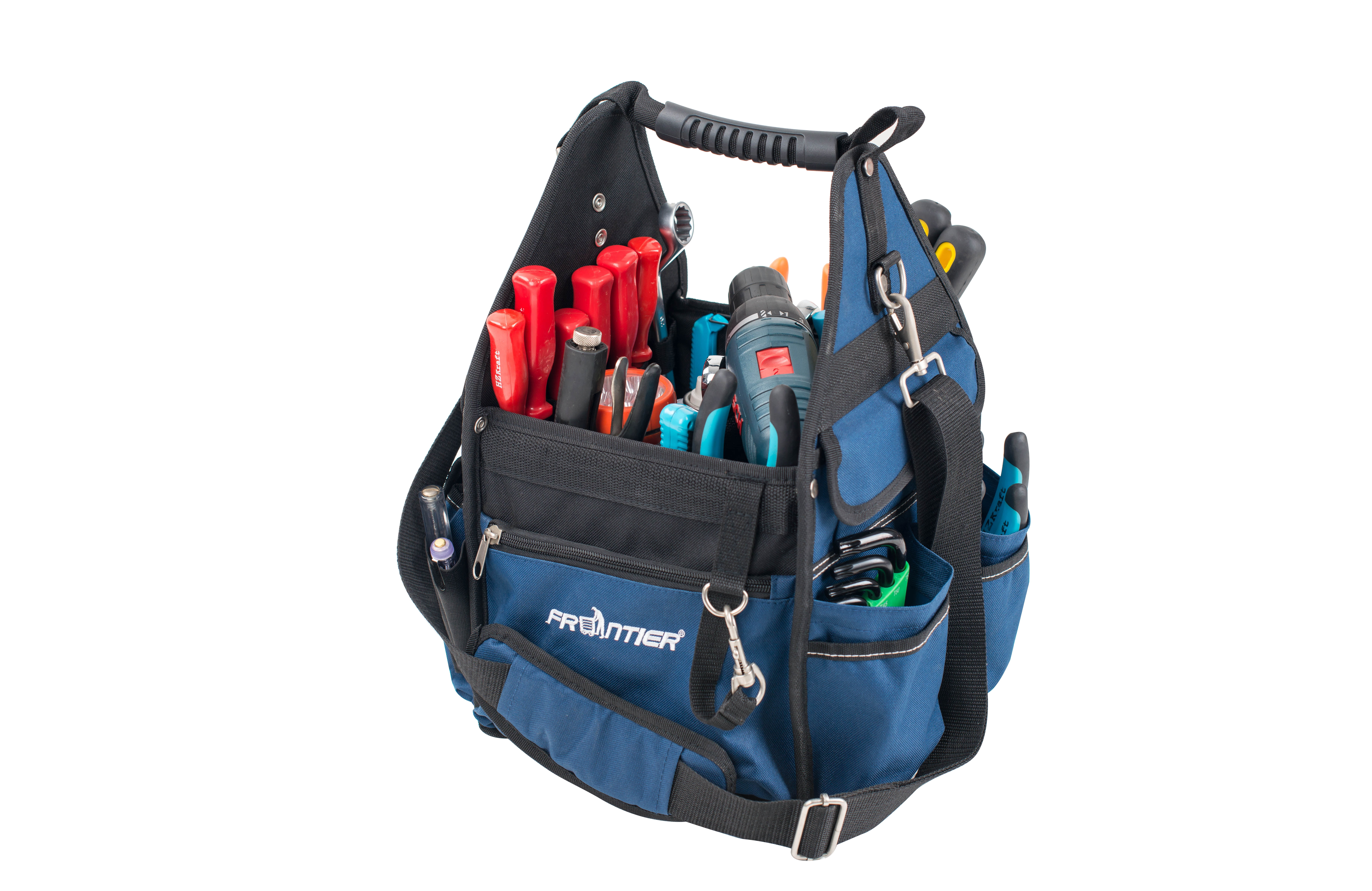 FRONTIER Premium 10 inch Open Soft Sided Electrician's Tool Bag Tote by XDD Products (USA) LLC
