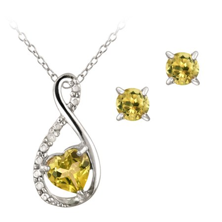Citrine Pendant Set - Sterling Silver Citrine & Diamond Accent Swirl Heart Necklace and Earrings Set