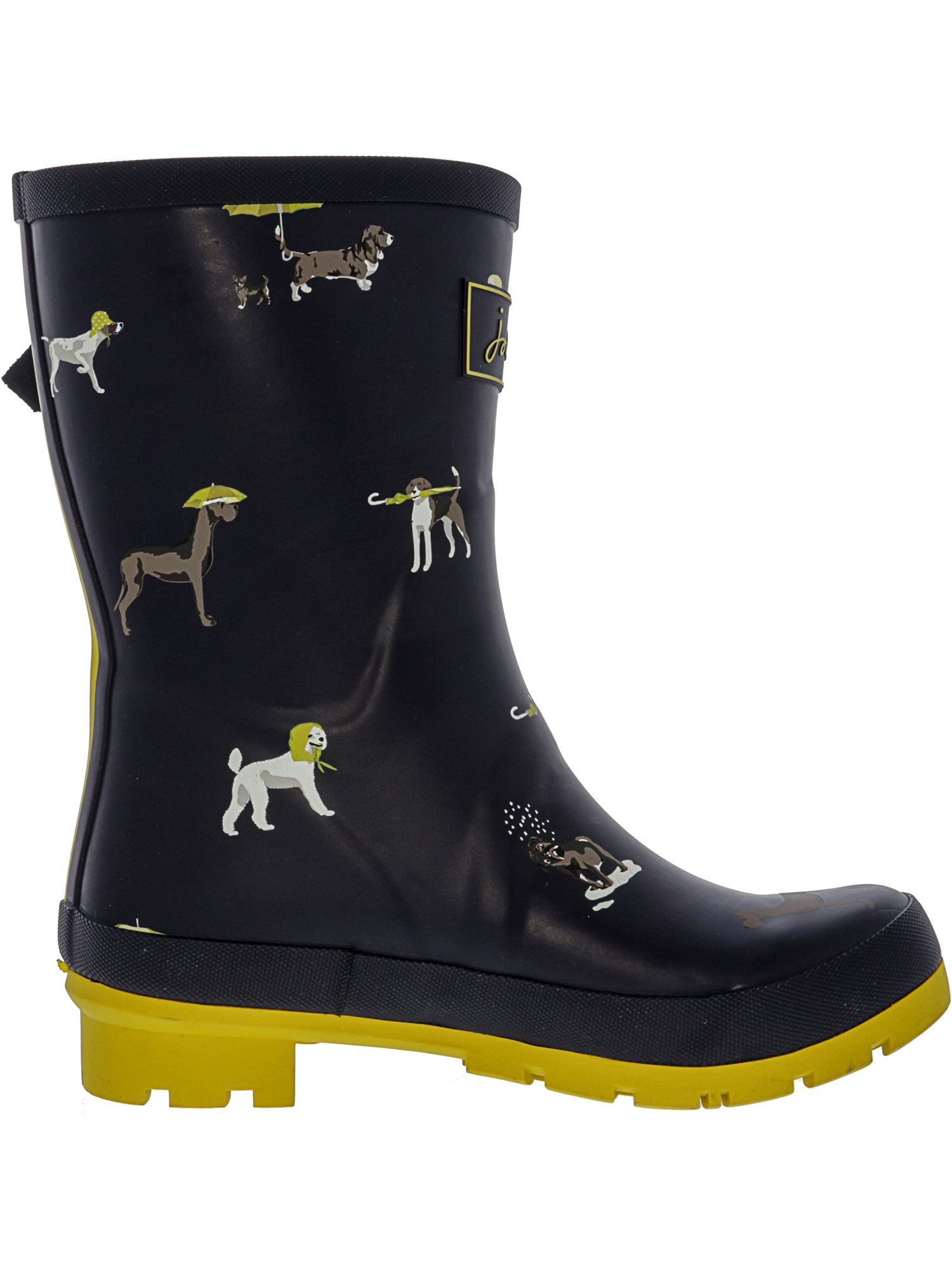 Joules Women's Molly Welly Black Clematis Knee-High Rubber Rain Boot - 6M