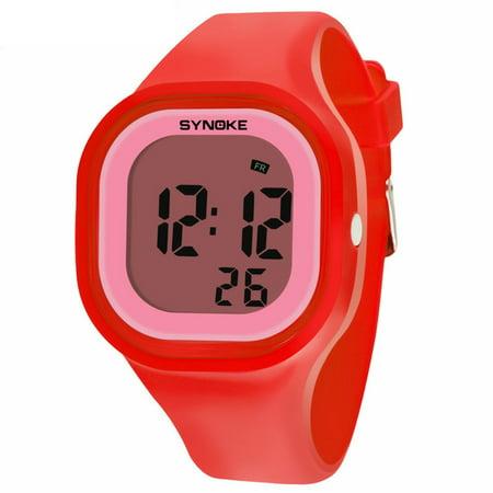 Multifunction Stopwatch - Kids Girls Multifunction Waterproof LED Digital Date Stopwatch Wristwatches Red