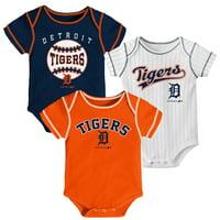 Newborn & Infant Navy/Orange/White Detroit Tigers 3-Pack Bodysuit Set