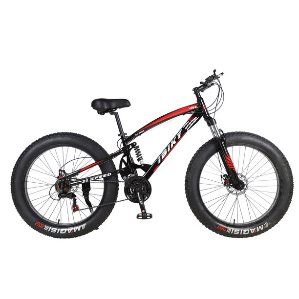 "26"" 21 Speed 4.0 Fat Tire Bike Snow Grass Sand Dual Shock Suspension MTB Black"