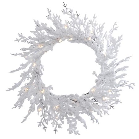 Vickerman B169531 Flocked Winter Twig Dura-Lit Wreath with Clear Lights, 30 in. - image 1 de 1